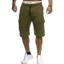 Mens Drawstring Waist Basic Simple Plain Flap Pocket Side Pleated Detail Training Cargo Shorts