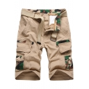 Unique Cool Camo Patched Men's Summer Fashion Cotton Loose Cargo Shorts