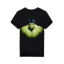 Hulk Popular Film Figure Basic Short Sleeve Relaxed Fit Black T-Shirt