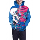 Street Fashion Cool 3D Skull Print Long Sleeve Unisex Drawstring Hoodie in Blue