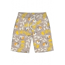 Natsume's Book of Friends Cartoon Cat Print Drawstring Waist Quick-Dry Breathable Swim Trunks