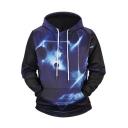 Cool 3D Planet Galaxy Print Long Sleeve Sport Loose Navy Drawstring Hoodie