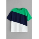 Summer Colorblocked Short Sleeve Round Neck Green T-Shirt