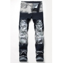 Guys New Fashion Cool Camo Patched Retro Bleach Washed Blue and White Regular Fit Jeans