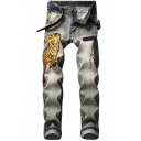 Tiger Embroidery Retro Bleach Wash Stretch Fitted Grey Ripped Jeans
