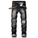 Guys New Stylish Knee Embroidery Ruched Detail Distressed Stretch Biker Jeans