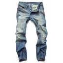 Men's Retro Destroyed Ripped Light Blue Straight Fitted Jeans