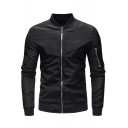 Cool Long Sleeve Stand Collar Zip Closure Solid Outdoor Military Jacket