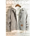 Cool Long Sleeve Lapel Collar Multi Pockets Corduroy Zip Closure Jacket for Guys