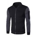 Men's Long Sleeve Color Block Zip Side Pockets Stand Collar Slim-Fit Jacket