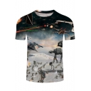 Star Wars 3D Robot Printed Basic Round Neck Short Sleeve Fitted Blue T-Shirt