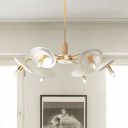 4/6 Lights Dome Suspended Light with Metal Shade Modern Chandelier Lighting in Gold Finish