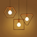Open Bulb Hanging Lamp with Triangle/Square/Hexagon Frame Wood Single Light Modern Pendant Lighting in White