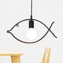 Bare Bulb Pendant Lamp with Fish Shape Metal Frame Simple Kindergarten 1 Head Hanging Lamp in Black