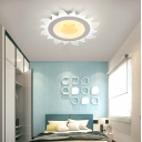 Cute Sun Shape Flush Mount Lighting Modern Boys Girls Bedroom Acrylic LED Ceiling Fixture in White