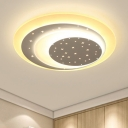 Starry Ceiling Lamp with Ultra Thin Round Shade Nursing Room Acrylic LED Flush Light in Black/White