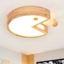 Acrylic Shade Cartoon Lighting Fixture Nursing Room Baby Kids Room Surface Mount LED Light in Wood