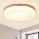Modern Design Wavy Flush Mount Corridor Hallway Wooden Art Deco LED Ceiling Fixture in Warm/White