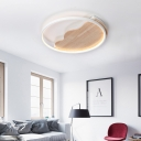 White Circular Ring Ceiling Light with Wavy Canopy Wooden LED Flush Mount for Study Room