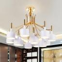 Metallic Chandelier with Black/White Drum Shade Modern Fashion Multi Lights Hanging Lamp