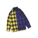 New Stylish Colorblocked Plaid Print One Pocket Chest Unisex Long Sleeve Casual Cotton Shirt