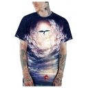 New Stylish Unique Cool 3D Galaxy Pattern Basic Short Sleeve Casual Navy T-Shirt