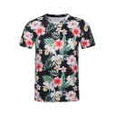 Stylish 3D Floral Printed Round Neck Short Sleeve Black T-Shirt