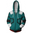 3D Cool Prinetd Cosplay Long Sleeve Zip Up Hoodie in Green