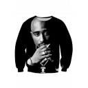 American Rapper 3D Figure Pattern Basic Round Neck Long Sleeve Pullover Black Sweatshirt