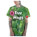 Cool 3D Cactus Floral Letter FREE HUGS Printed Basic Casual Loose Green T-Shirt