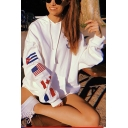 Loose Long Sleeve Flag Printed Cozy Leisure White Hoodie