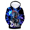 Cool 3D Comic Character Pattern Long Sleeve Loose Casual Blue Hoodie