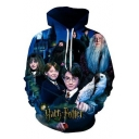 Harry Potter Series Cool 3D Film Character Pattern Long Sleeve Sport Blue Drawstring Hoodie