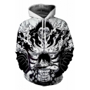 Trendy 3D Comic Character Pattern Long Sleeve Black Casual Hoodie
