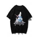 Summer New Trendy Retro Letter FASHIONABLE Crane Printed Loose Fit Cotton T-Shirt