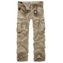 Mens New Trendy Simple Plain Multi-Pocket Casual Straight-Leg Cotton Cargo Pants