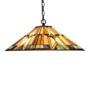 Geometric Suspension Light Tiffany Style Mission Stained Glass 1 Light Drop Light in Multi Color