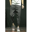 Men's New Stylish Vertical Striped Print Drawstring Waist Rolled-Cuff Casual Tapered Pants
