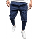 Men's Trendy Vertical Stripe Printed Hip Hop Fitted Fashion Suit Pants Dress Pants