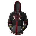 Kingdom Hearts Fashion 3D Printed Long Sleeve Zip Up Black Drawstring Hoodie