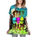 Cool Fashion Alien Printed Tie Dye Short Sleeve Loose Longline T-Shirt