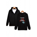 Comic Character Print Long Sleeve Zip Up Loose Fit Hoodie