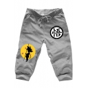 Comic Character Print Drawstring Waist Mens Cotton Cropped Sweatpants