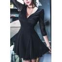 New Trendy Sexy V-Neck Three-Quarter Sleeve Black Lace Mesh Mini A-Line Dress
