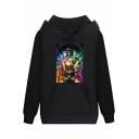 Cool Figure Print Basic Loose Casual Pullover Hoodie