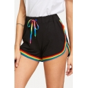 Rainbow Striped Trim Drawstring Waist Leisure Shorts