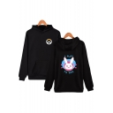 Overwatch Game Comic Character Print Unisex Long Sleeve Pullover Relaxed Hoodie