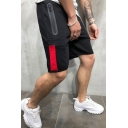 Hot Popular Drawstring-Waist Patched Detail Fashion Zip Pocket Mens Sport Running Sweat Shorts