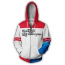 Fashion Colorblock Letter Printed Loose Relaxed Zip Up White Hoodie