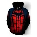 New Trendy Cosplay Printed Long Sleeve Red Drawstring Hoodie